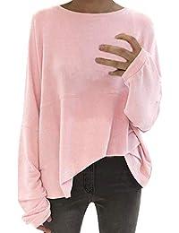 53027635864 Otoño Invierno Ocio Estilo Mujeres Cuello Redondo Estilo Blusa Manga Fiesta  Murciélago Camiseta Casual Jumper Jerseys