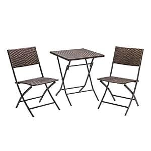 DEMA Rattan Balkonset Springfield Tisch Stuhl Garten 3