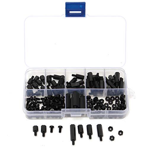 TuToy SuleveTM M3Nh5 180Pcs M3 Nylon Screw Black Hex Screw Nut Pcb Standoff Spacer Column Assortment Kit