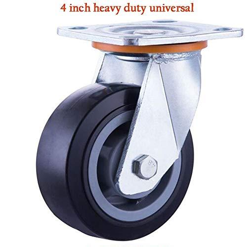 YANGWB2000 Gummirollen, Caster Heavy Duty Silent Casters, doppelt gelagerte Industrieräder, Flache Gummiräder, 4,5,6,8, Zoll (Color : Universal, Size : 4 inch)