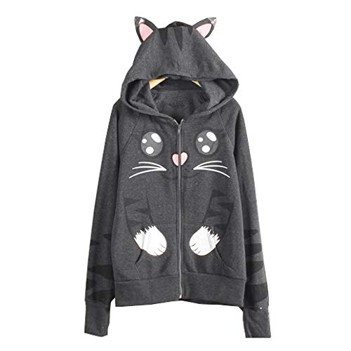 dh Super Cute Cat Printed Long Sleeve Hooded with Cat Hat Sweatshirt Pullover for Girl(Gray,2L) ()