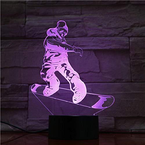 Nachtlicht Schlafzimmer Dekorative Led Nachtlicht Sport Snowboard 3D Illusion Led Tischlampe Touch Sensor Nacht Basis Für Kind Kind Geschenk