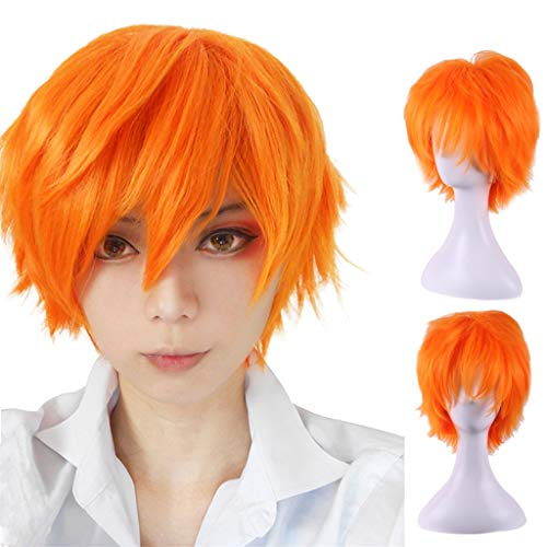 en Perücken Haarteile für Erwachsene Orange Kurze Cruly Herren Perücke für Anime Cosplay Kostümparty Gentleman Perücken wig Halloween Mann Men Wig Herren Haarteile ()