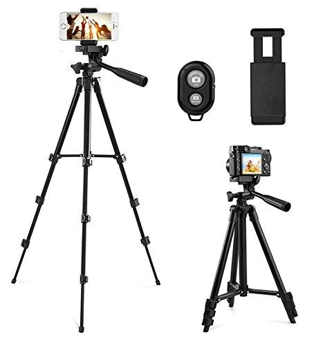 Kamera Stativ, CCRoom 102cm Aluminium Smartphone Stativ mit Handy Halterung und Bluetooth Fernbedienung Handy Stativ für iPhone Samsung und Kamera (Schwarz)
