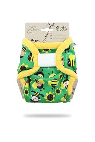 Petit Lulu Neugeborenen Überhose (2-6 kg) für Stoffwindeln Klett (Bienenkinder)