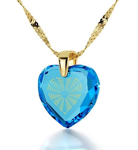 Pendentif Coeur - Bijoux Romantique Plaqué Or avec I Love You Truly Madly Deeply inscrit à l'Or 24ct sur un Zircon Cubique en Forme de Coeur, Chaine en Or Laminé de 45cm - Bijoux Nano Bleu Lagon