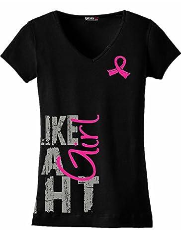 LYYJY Fight Like a Girl SideWrap Breast Cancer T-Shirt Ladies' V-Neck Black w/Pink