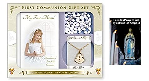 First Holy Communion Gift Set Missal Book & Rosary & Chalice Necklace