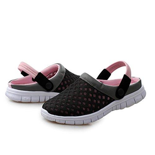 DoGeek Sommer Clogs Atmungsaktiv Mesh Hausschuhe Rutschfest Slippers Outdoor Strand Sandalen Pantoffeln Flach Sohle Schuhe für Herren Damen Pink