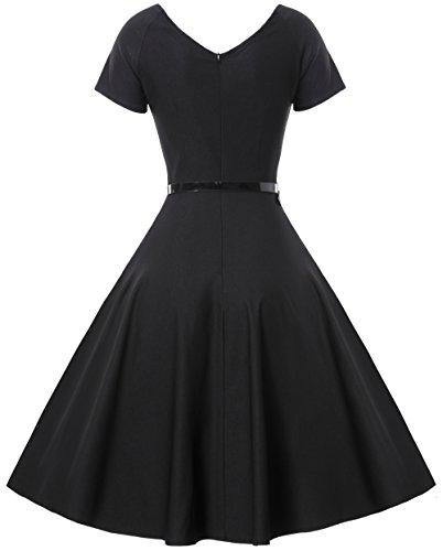 Gigileer Damen Vintage V-Ausschnitt Schwingen Rockabilly Ballkleid Kleider Cocktailkleid Schwarz XL - 2