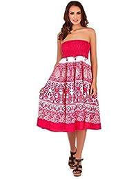 3e6dd1948 Pistachio Women's Cotton Floral Print Strapless Summer Dress/Skirt