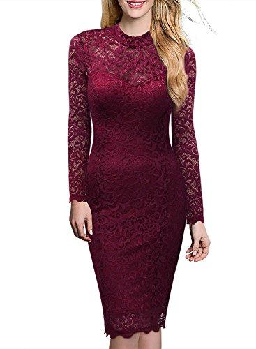 Miusol Damen Elegant Kleider Rundhals Knilanges Rotwein Spitzenkleid Stretch Ball-Abendkleider Gr.M - 4