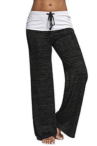 YACUN Femmes Pantalon Taille Haute Des Sports Jambe Droite Jambières Black