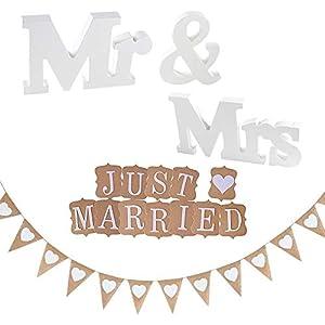 KINDPMA 3 Set Just Married Girlande Hochzeit Wimpelkette Jute Mr Mrs Buchstaben Holz Hochzeitsdeko Vintage Wimpel Hochzeitsgirlande für Deko Hochzeit Auto Tischdeko Brautpaar Zimmerdeko