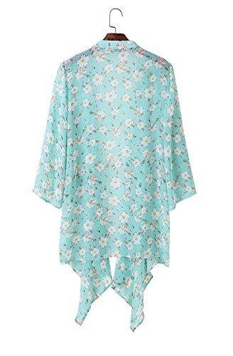 Tribear Damen Floral Bedruckt lose Kimono Cardigan Cover up Tops Chiffon Bluse Grün