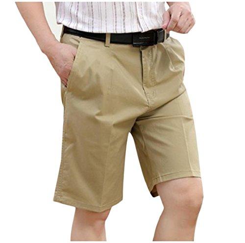 CuteRose Men Half Pants High Waist Straight Leg Plain-Front Dress Pant S Khaki (Front Pant Khaki Plain)