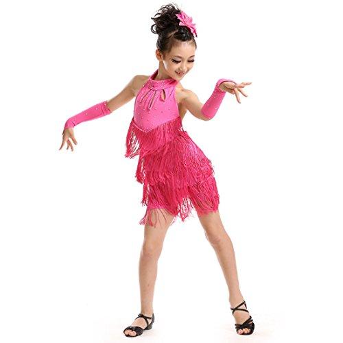Huicai Girl Funkelnde Strass Double Tassel Tanzen Latin Rumba Salsa ()