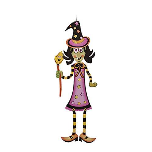 (Dabixx 3D Halloween Papier DIY hängende Skelett Ornament Party Supplies Dekor - Hexe)