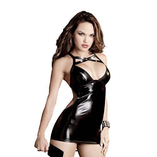 Erotische Dessous Sm Königin Leder Av Uniformen Rollenspiel Cospaly Extreme Locken Puzzle Verbunden Lack Kleid,A-OneSize
