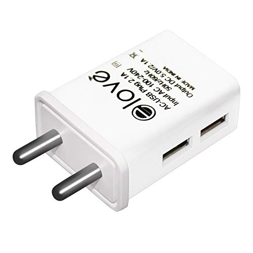 Elove Dual Port USB Charger Adapter with 2.1 Amp Power Supply for All Android and IOS Devices ( Data Cable Not Included ) – White