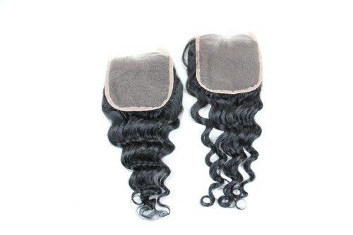 Cheveux Vierges brésiliens 30,5 cm Deep Wave dentelle fermeture/fermeture supérieure (10,2 x 10,2 cm) couleur naturelle 120% Densité