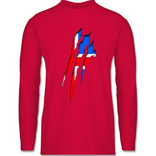 Shirtracer Länder - Island Krallenspuren - Herren Langarmshirt Rot