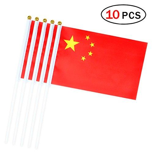 Ndier China Stick Flag 14 x 21cm kleine Hand Flagge Mini China Flagge 10 Stück China 14
