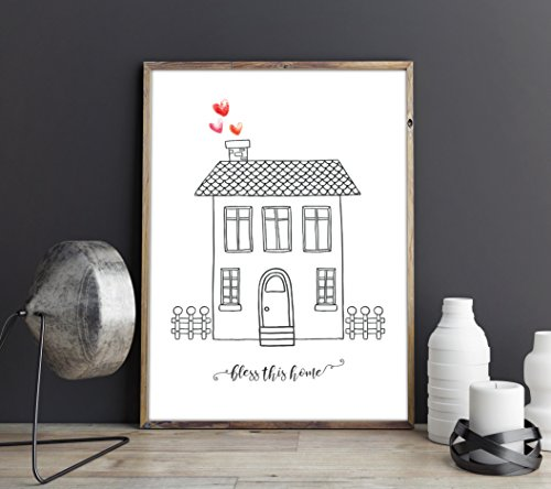 Bless This Home Minimalist Doodle Sketch House Watercolour Hearts Home Decor Wall Art Hallway Print