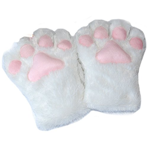 ZHANGYUGEGE  Cute Bear Cat Kitten Pfote Klaue Handschuhe weiche Anime Cosplay Plüsch für Halloween Party Frauen Zubehör, Weiß (Halloween Ohren Grau Cat)