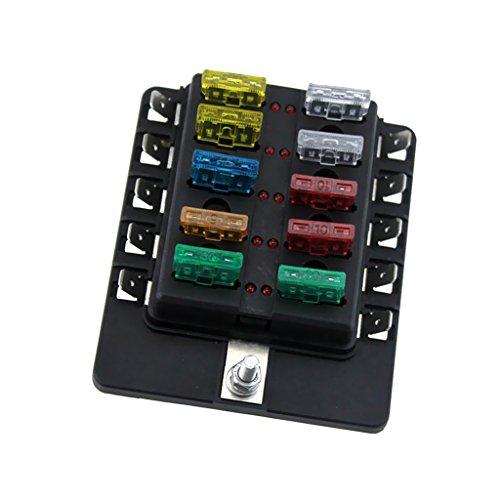MagiDeal Boîte à Fusible Porte Indicateur LED 10 Way 6V 12V 24V Pour Voiture