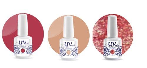 UV-Nails Soak-Off Gel Set Sand Dunes (222,208,213) 2 Vernis a Ongles & 1 Vernis Paillettes 15ml + Aviva Polissoir a ongles