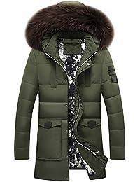 4a3d38d3d47e Brinny hommes manteau veste hiver parka avec col de fourrure faux Blouson  épaissi trench outwear