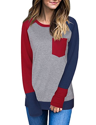 VESSOS Damen Langarm Tunika Tops Knit Button Crew Neck Bluse T-Shirt Pullover (Top Y-neck Knit)