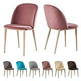 MCC - Bradley Set de 2 sillas de comedor de terciopelo con efecto madera patas metálicas silla de la sala de estar (Rosa)