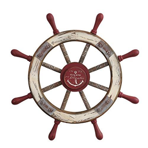 Stickers muraux Autocollants muraux style européen méditerranéen barreur en bois gouvernail créatif volant décorations murales cadeaux (Color : Red, Size : 76 * 76cm)