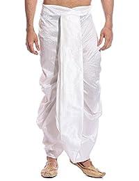 Tag 7 Men's Silk Blend Dhotis (DH01_White_Free Size)