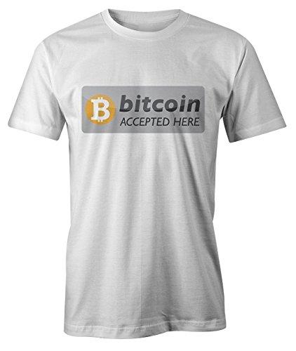 Bitcoin Accepted Here Crypto T-Shirt Camiseta Hombres Blanco Small