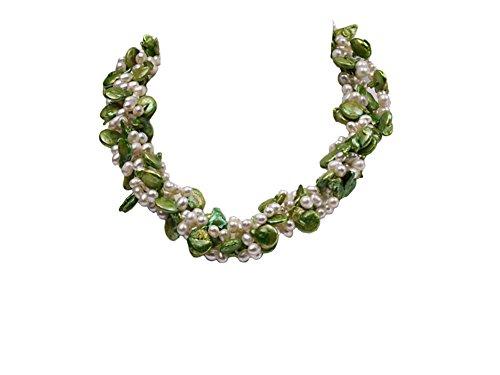 jyx Multi Strand Perle Halskette–vierreihigen 5–6mm weiß Süßwasser Pearl Halskette und grüne Taste Perle 45,7cm