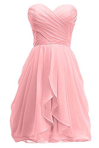 KekeHouse® Robe Bustier Courte de Cérémonie Soirée Mariage Femme fille robe de demoiselle d'honneur Rose