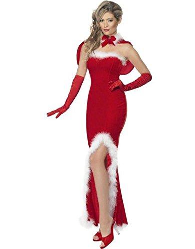 Hikenn Frauen Weihnachten Langes Kleid Mit Wrap Red Elegante Sexy Weihnachtsfrau Halloween Party Kostüm