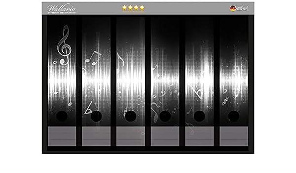 Wallario Ordnerrücken selbstklebend für 6 breite Ordner Klaviatur Musik Noten