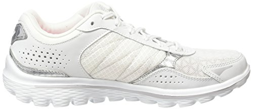 Skechers Go Walk 2-Flash Lt, Chaussures de Tennis Femme White/Silver/Open White