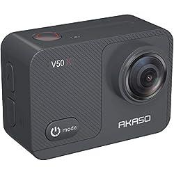 Caméra Sport 4K Etanche WiFi - AKASO Action Caméra Sportive Ultra Full HD Stabilisateur avec Télécommande Écran Tactile 30fps Angle Réglable 131 Pieds sous Marine 2 Batteries Kit d'Accessoires - V50X