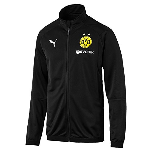 PUMA Herren BVB Poly Jacket Sponsor Logo 2 Side Pockets with z Jacke, Black, L Cat Woven Jacket