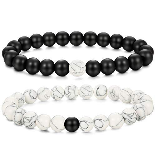 Finrezio Couple Armband Ying Yang Armband aus Stein Howlite Obsidian Perlen Armband Schwarz und Weiß