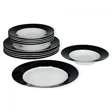 Van Well Tafelservice 12-tlg. für 6 Personen Serie Vario Porzellan - Farbe wählbar, Farbe:schwarz