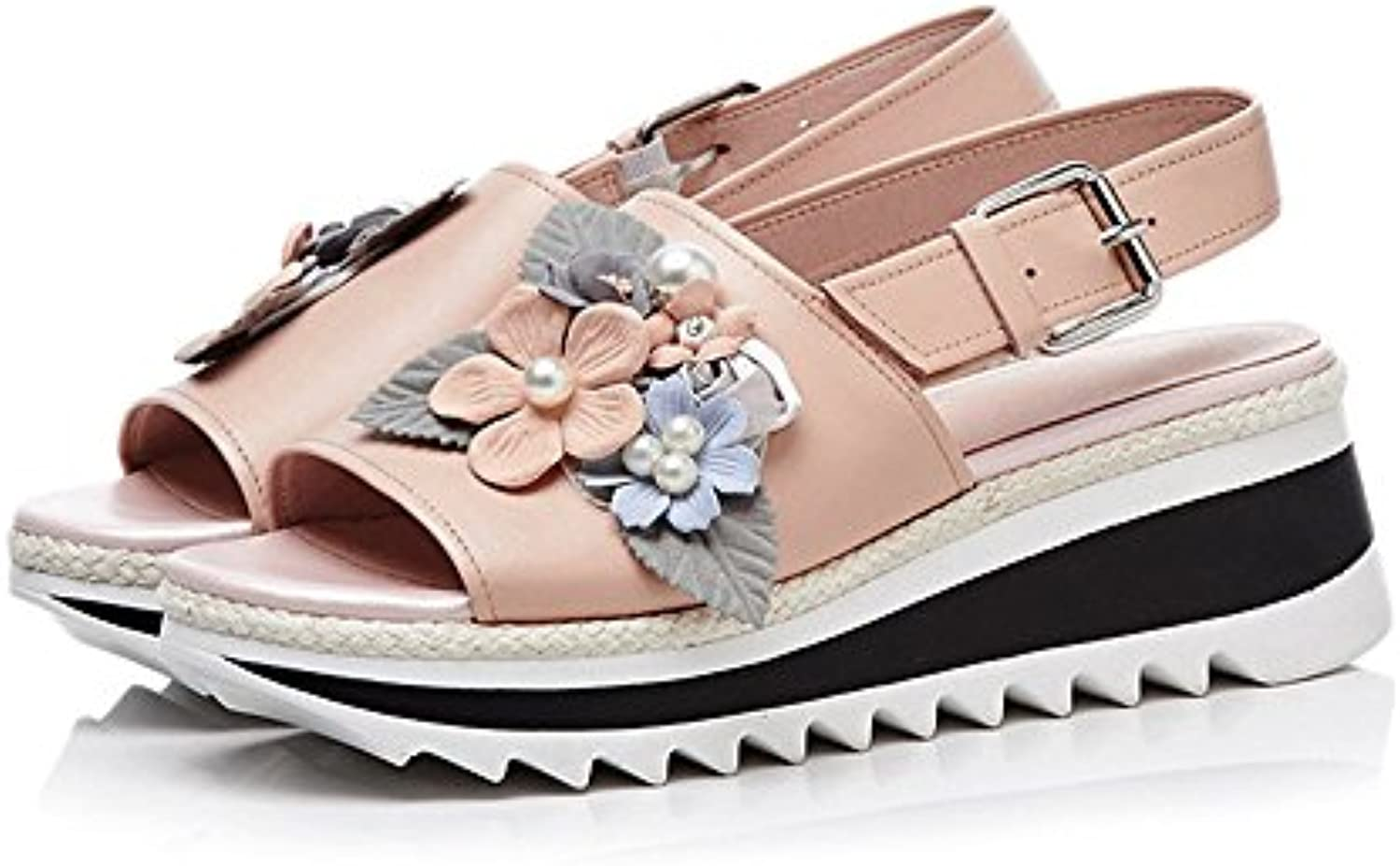 Summer Pearl Fish Flower Décoration Wedges à Semelles épaisses Fish Pearl Mouth  s en Cuir véritable (Couleur : Rose...B07HCYZLW2Parent 329a60