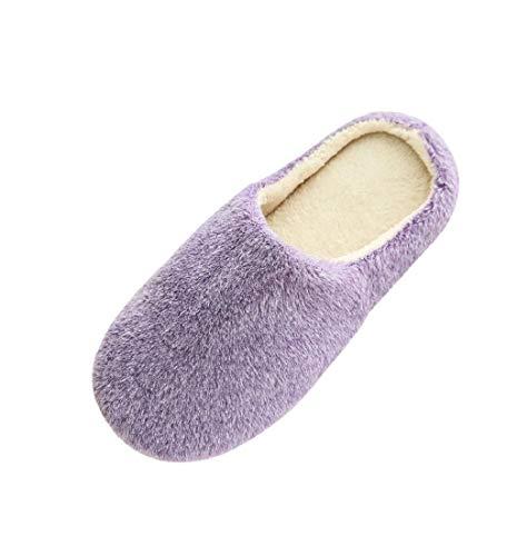 HupoopFrauen warmes Zuhause Plüsch weiche Hausschuhe drinnen Anti Rutsch Winterboden Schlafzimmer Schuhe(Lila,40-41) Damen Warm Ups