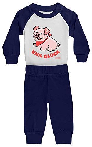 Schweinchen Für Hunde Kostüm - HARIZ Baby Pyjama Schweinchen Viel Glück Tiere Kindergarten Plus Geschenkkarten Weiß/Navy Blau 36-48 Monate