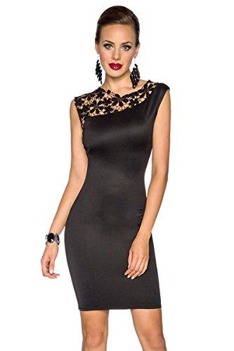 Sexy Cocktail-Kleid mit Spitzeneinsatz Schwarz